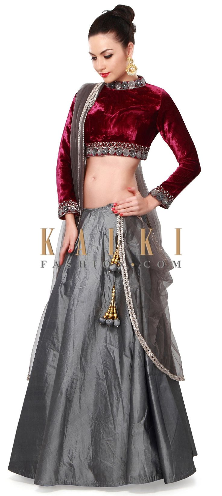 Buy Online from the link below. We ship worldwide (Free Shipping over US$100). Product SKU - 265803. Product Price - $599.00. Product link - http://www.kalkifashion.com/grey-and-wine-lehenga-adorn-in-sequin-and-zardosi-embroidery-only-on-kalki.html