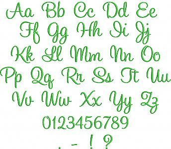 """Ellie Script Embroidery Font $3.00 4 sizes 1"""" 1.25, 1.5 and 2"""" only (appears to be the same as 'Charlotte' from stitchtopia BUT that one comes w. 2.5 and 3' also. so if needed could buy that one)"""