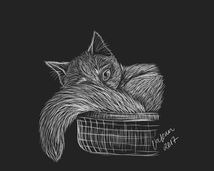 Cat digital drawing by Valpuri