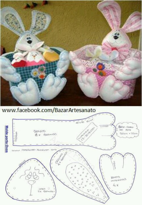 felt bunny with basket and template