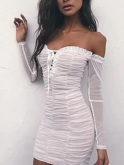 White Off Shoulder Lace Up Frill Ruched Mesh Bodycon Dress ...