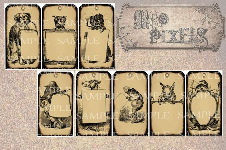 A delightful and decorative way to tag gifts! These Victorian style illustrations have different and humorous animal images, fun variety of dogs, a frog, elephant, horse, turtle, and a pig. Each has grunge effects and a space for you to write in for making a note, or use them creating altered art and digital collages. #tags #animals #unusual #antiqued #grunge #drawings #gifttag