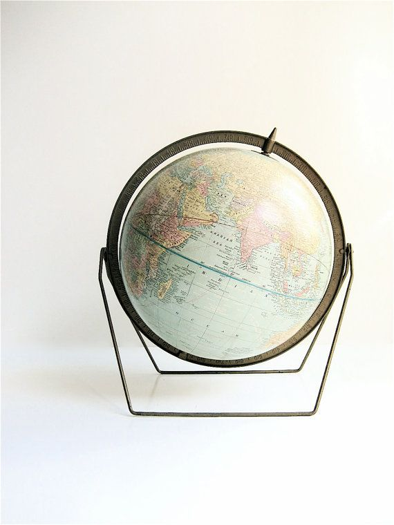 1950s Crams Imperial Globe with brass meridian and brass trestle stand
