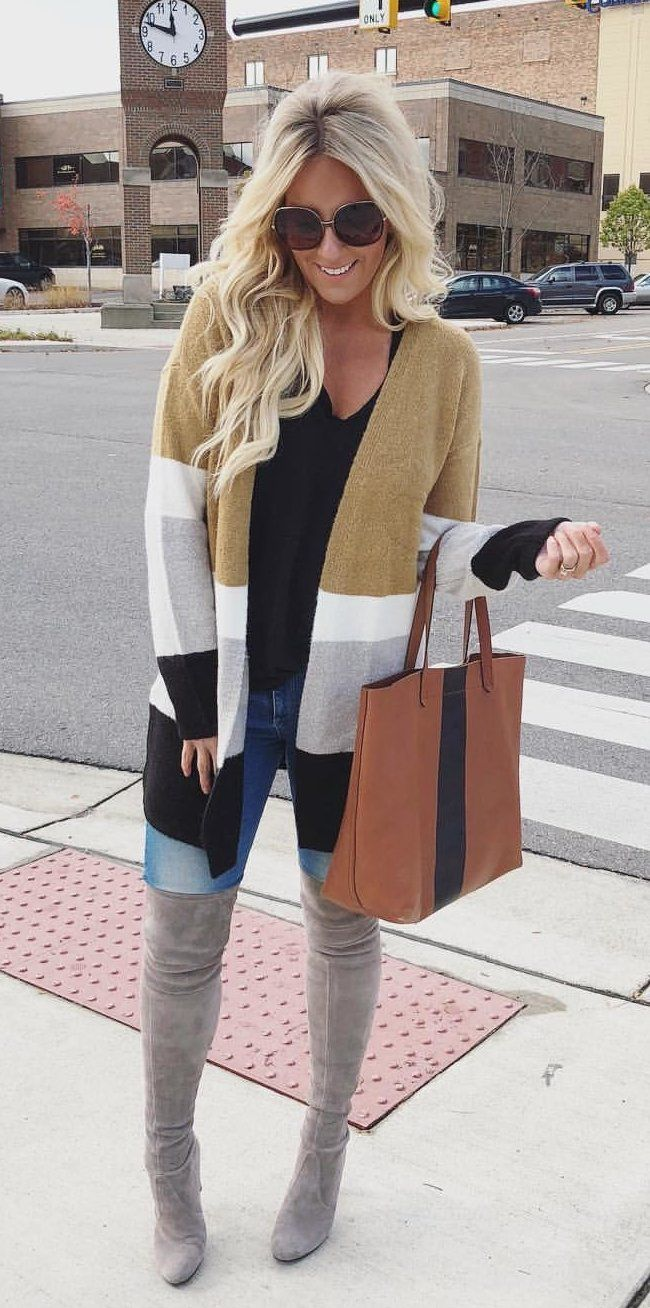 #fall #outfits brown, white and gray cardigan