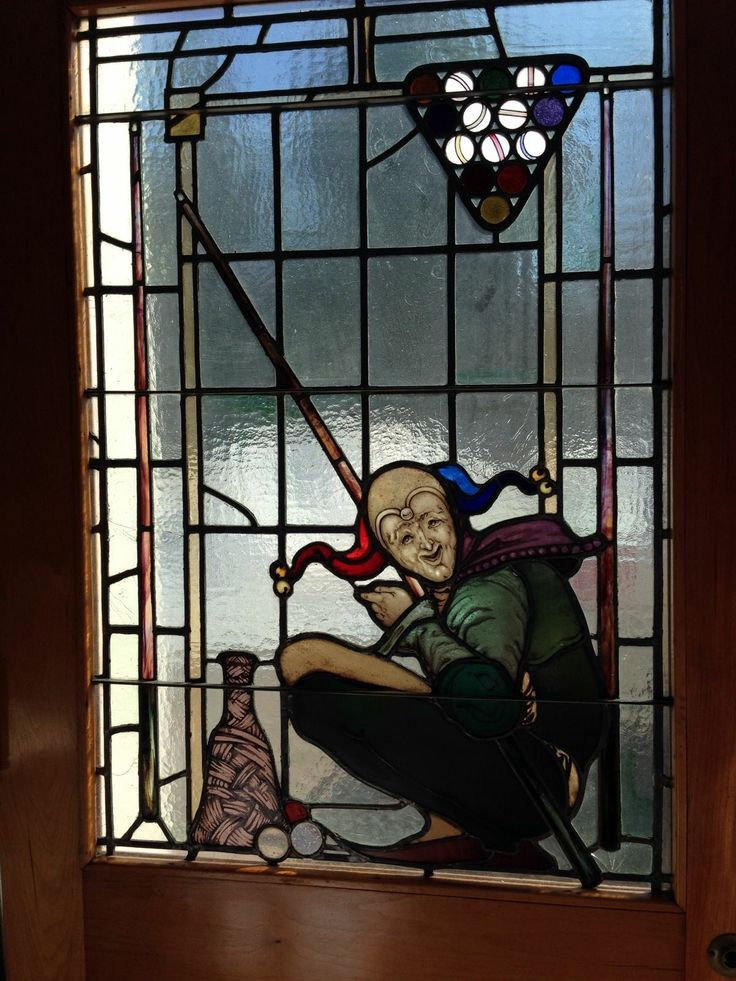 Antique Stain Glass Billiards Room Door with Jester and Pool Stick |