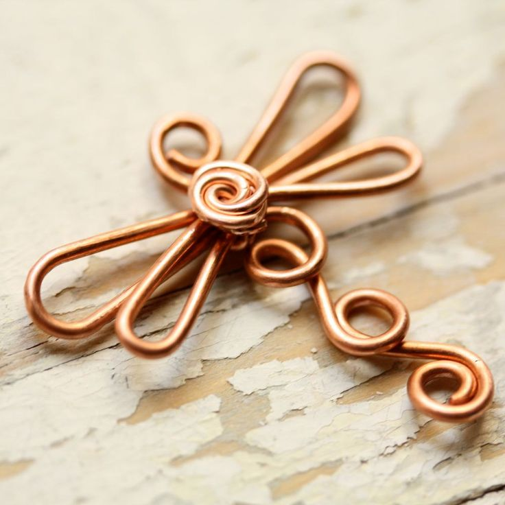 Wire Dragonfly Solid Copper - Large - Handmade Wirework Connector, Charm, or Pendant