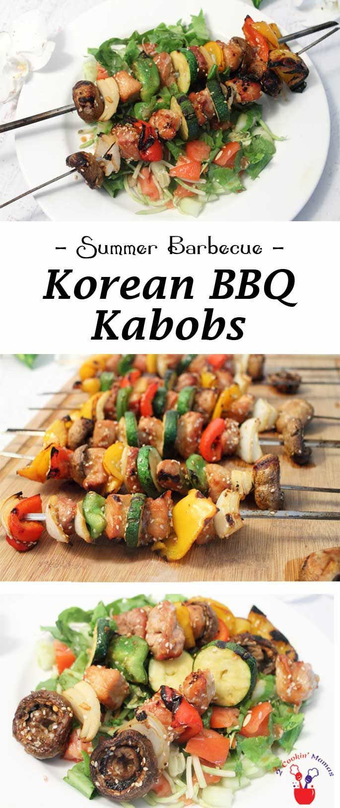 Nothing is easier or more delicious than Korean BBQ Kabobs. Choose your favorite meat & veggies, marinate, then grill. Dinner in 30! via @2CookinMamas