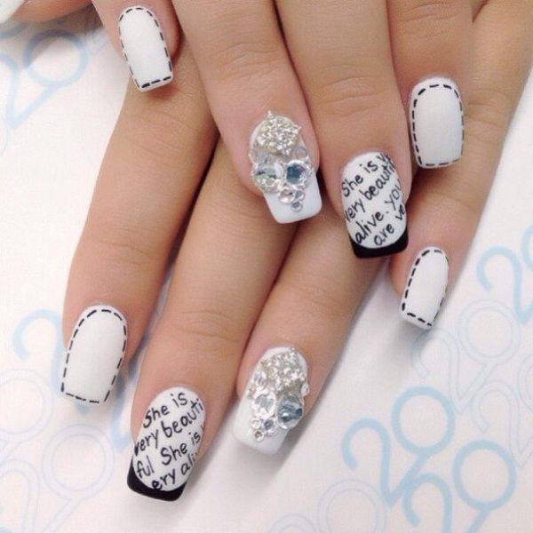black and white nail art-43 - 55 Black and White Nail Art Designs   <3