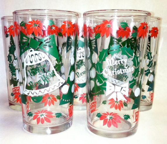 Vintage Hazelware Christmas New Year Glasses Set. I believe Caren and I both have this set! I do believe you're correct, Pam.