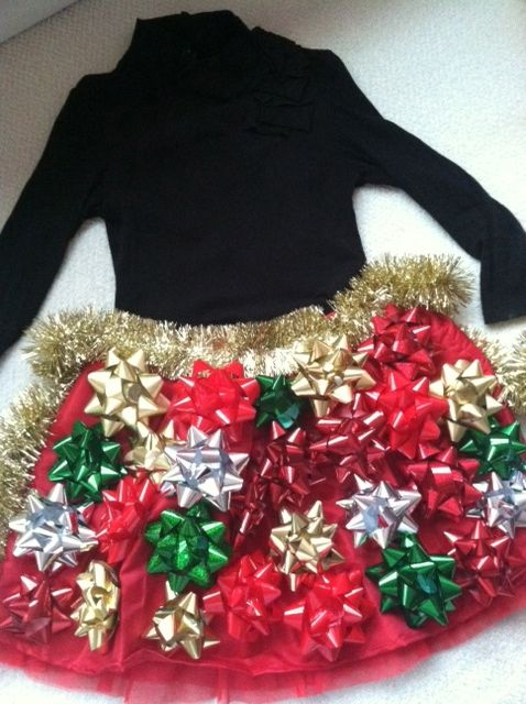 tacky Christmas skirt to wear to our company Christmas party, I think yes
