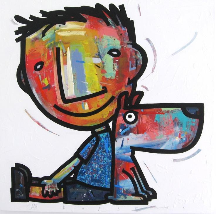 Back to back acrylic on canvas 1m x 1m David Kuijers