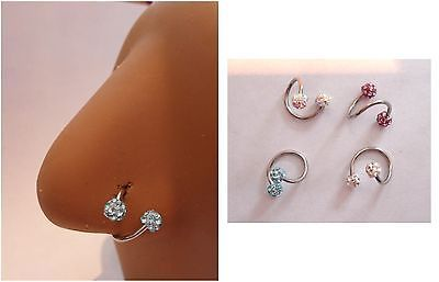 Twisted Surgical Steel Crystal Balls Nose Hoop Ring Choose 18g 16g