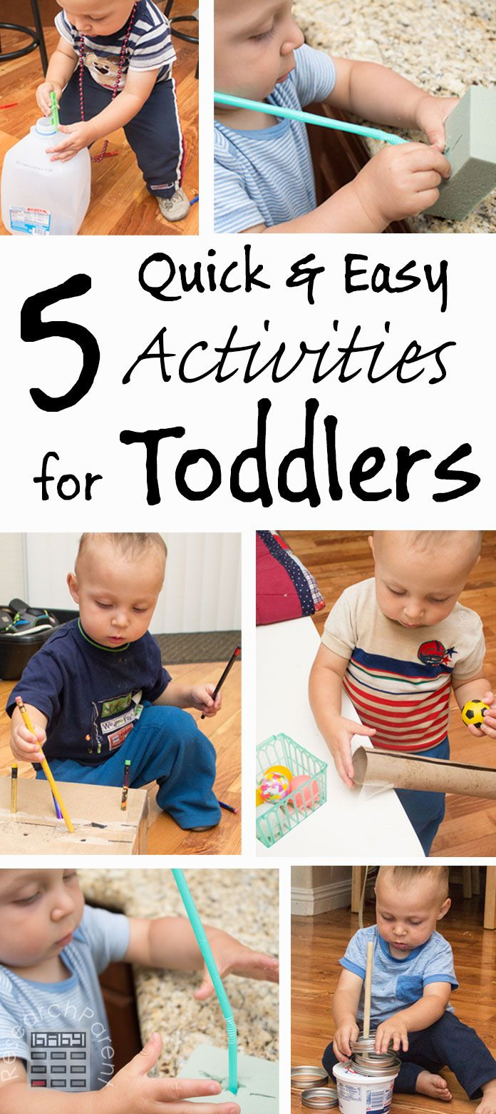 5 Quick and Easy Activities for Toddlers - Low cost, little setup time, lots of fine motor control fun for 1 year olds.