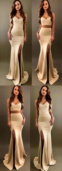 Sexy Two Piece Mermaid Sweetheart Split Front Long Prom Dress,Evening Party  Dress.PDY0236