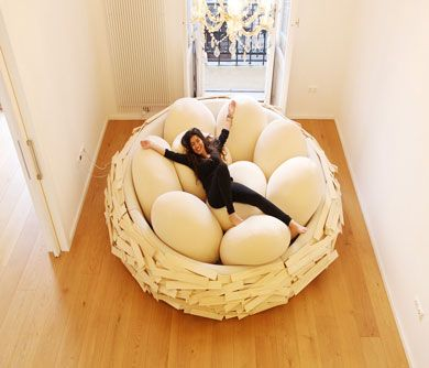 This Giant Bird Nest Bed is capable of sitting 16 adults, and it was designed with the friendly hangout in mind. Have a party and invite everyone to sit in.