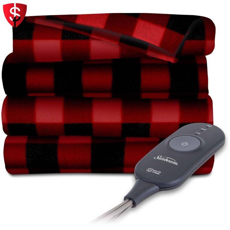 Electric Heated Blanket Fleece Throw Warming Heat Throws Warm Red Black Plaid #Sunbeam
