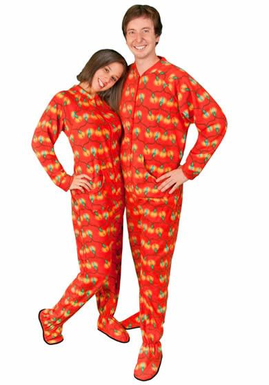Christmas Tree Lights Footie Pajamas Drop Seat for Adults, Pajama City - 1