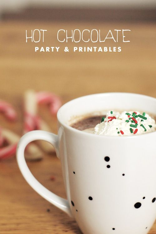 A Hot Chocolate Party - now there's a winter party I can really get behind! Check out this fantastic collection of printables - including signs, invitations, lables & tags - everything you need for the perfect party! Laura xox www.madepeachy.comWinter Parties, Christmas Parties, Christmas Fun, Theme Parties, Bridal Shower, Parties Ideas, Chocolates Parties, Hot Chocolates, Parties Printables