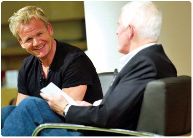 Chef Gordon Ramsay interviewed by restaurateur Peter Oliver at Appel Salon - Photo credit: Toronto Public Library