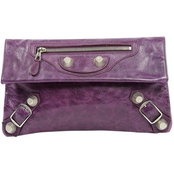 Pre-owned Balenciaga Leather Clutch Bag ($486) ❤ liked on Polyvore featuring bags, handbags, clutches, purple, 100 leather handbags, preowned handbags, balenciaga handbags, real leather purses and pre owned purses