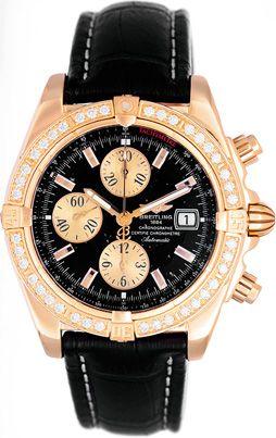Breitling Windrider Chronomat Evolution 18k Yellow Gold Diamond Men's Watch K13356
