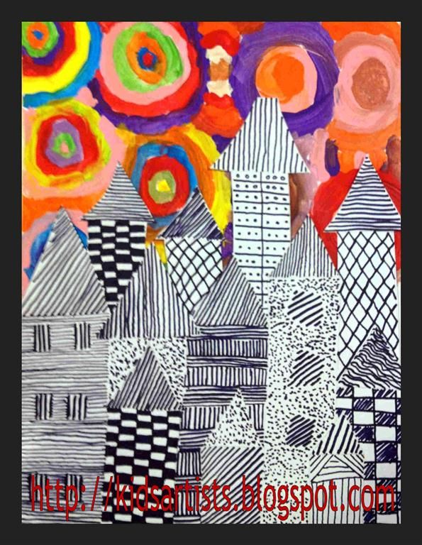 Kids Artists - create background by painting circles.  On separate paper students draw houses and fill with different patterns.  Houses are not outlined.  The patterns themselves make the houses stand out from one another.