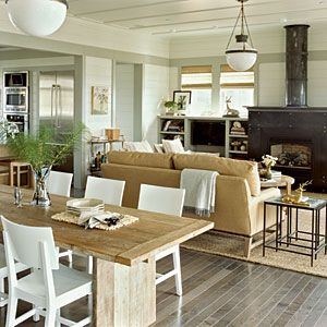 Pacific Northwest Homes | Great Space | CoastalLiving.com: Dining Rooms, White Chairs, Living Rooms, Idea, Beach Houses, Open Floors Plans, Coastal Living, Beaches Houses, Dining Tables