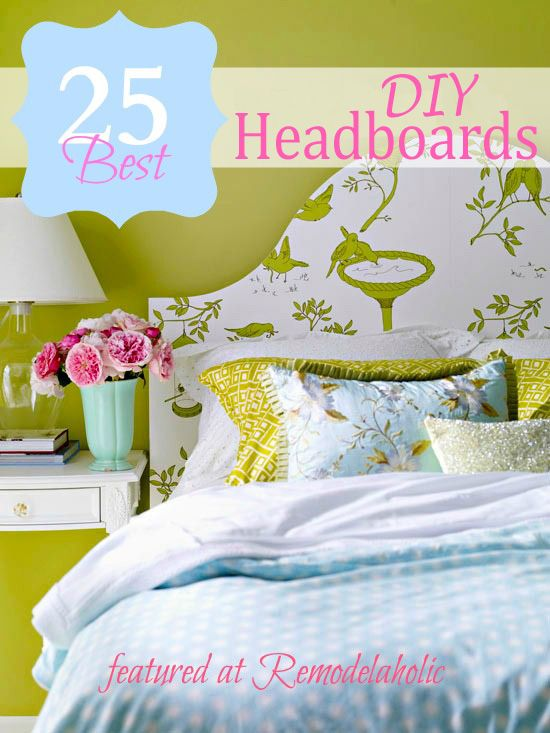 25 DIY Headboard Ideas!Decor, Guest Room, Wall Colors, Beds, Small Bedrooms, Headboards Ideas, Green Wall, Diy Headboards, Wallpapers Headboards