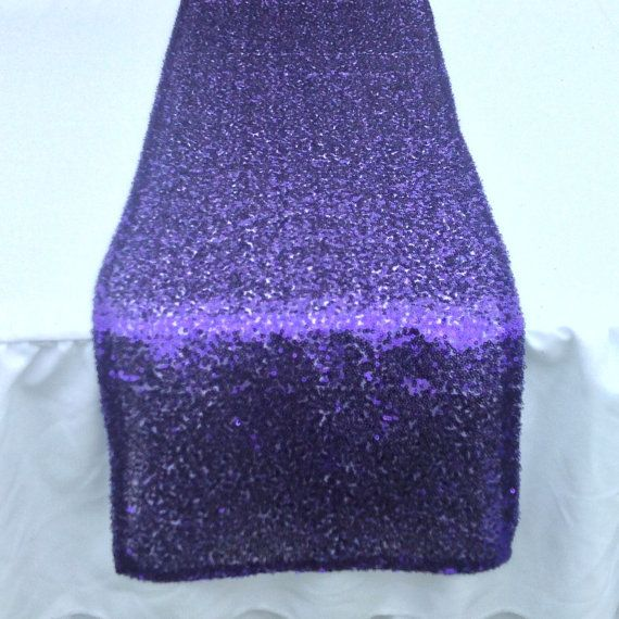 Sequin Table Runner  12x108  Purple sequin by CreativePapier, $33.00