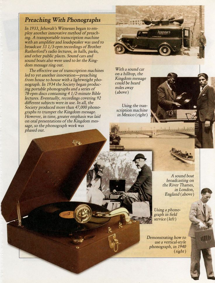"""Preaching with the phonograph.  THIS IS THE MODEL MY MOM USED  IN SERVICE...."""" DOORSTEP SETUP""""!"""