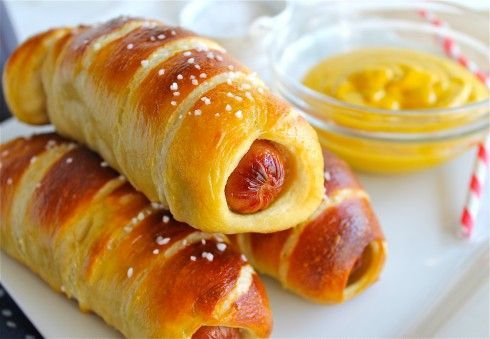 Homemade Pretzel Dogs | TheFoodCharlatan.com Getting these at the mall is always my downfall. Now I can get them AT HOME! Love.