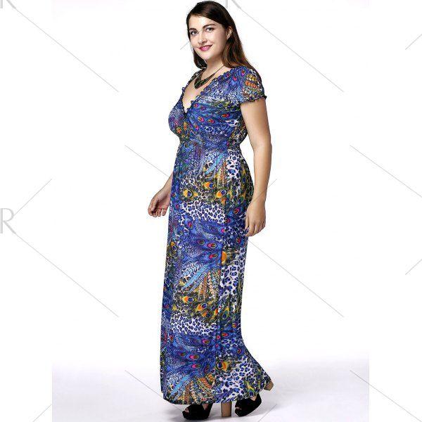 Plus Size Phoenix Tail Print Maxi Dress Phoenix Maxi Dresses And