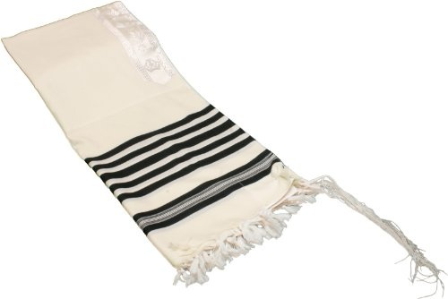 "100% Wool Tallit Prayer Shawl in Black and White Stripes Size 24"" L X 72"" W $35.00"