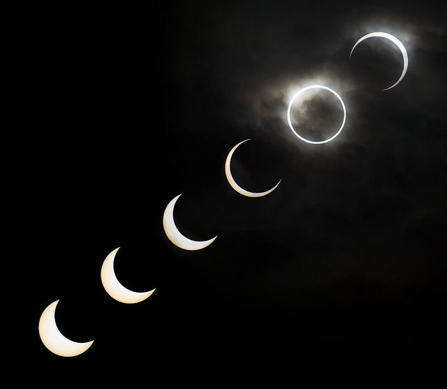 Eclipse (sequence) by Qhimm, via Flickr  A combination of shots from various stages of the 2012 annular solar eclipse in Tokyo.