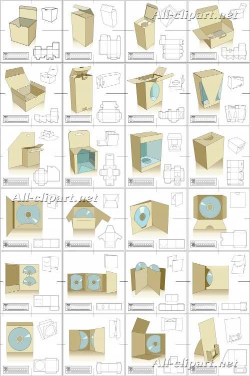Чертежи картонных коробок в векторе
