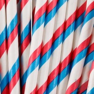 Vintage Paper Drinking Straws - Red, White, Blue Striped Paper Straws (Pack of 25 Retro Straws)