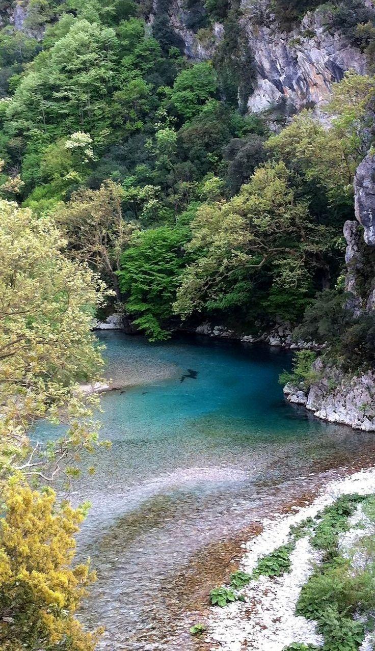 Voidomatis river crosses the Vikos Canyon, Epirus, Greece