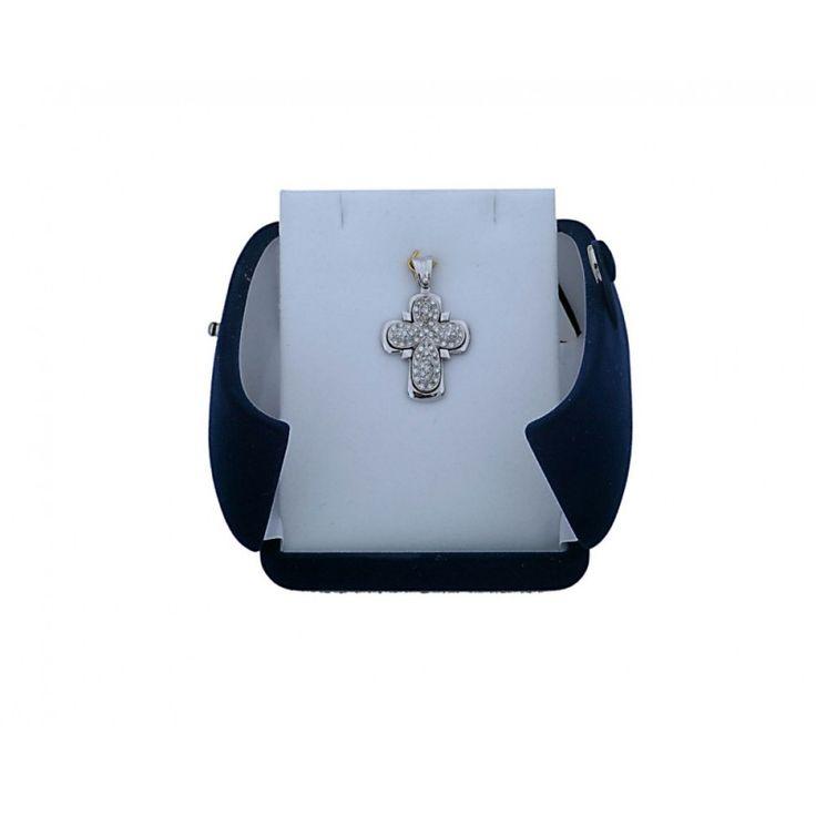 Σταυρός Γυναικείος  λευκόχρυσος Κ18 με πέτρες Μπριγιάν