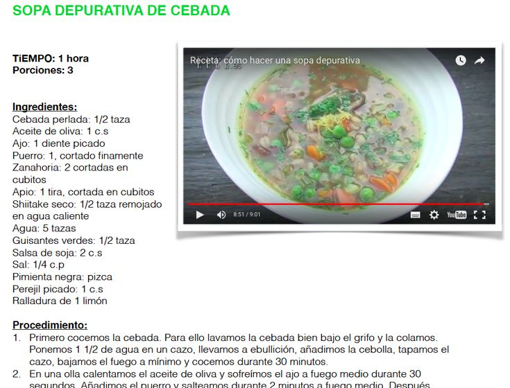 Sopa depurativa de cebada