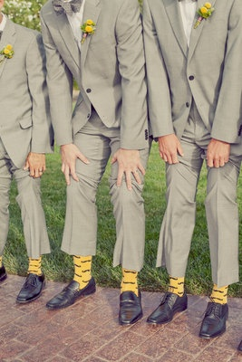 #Yellow and #grey for the groomsmen with a #marigold boutonnière!