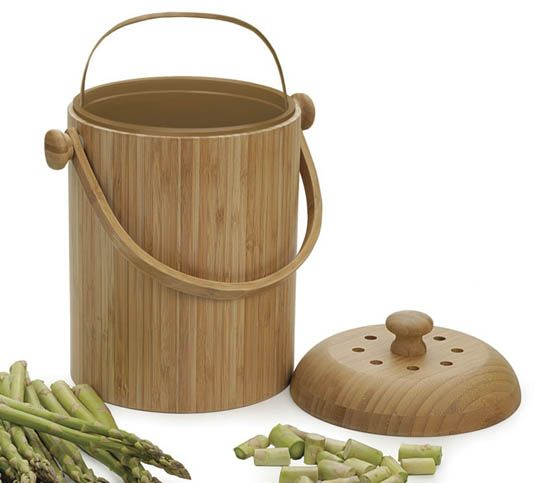 Bamboo Kitchen Compost Pail by RSVPCompost Bins, Bamboo Compost, Countertops Compost, Kitchens Compost, Kitchens Accessories, Compost Pail, Charcoal Filters, Bamboo Kitchens, Kitchens Scrap