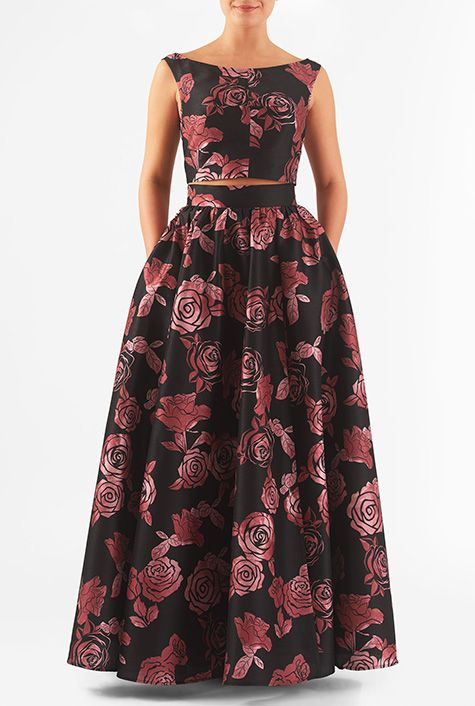 Plus Size Formal, Women's Rose print dupioni two-piece maxi dress prom, wedding and formal wear, (plus size) #plussizedress #plussizeformal