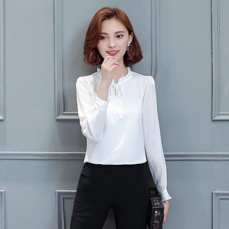 Women Chiffon Blouse Long Sleeve Plus Size Bow Tie