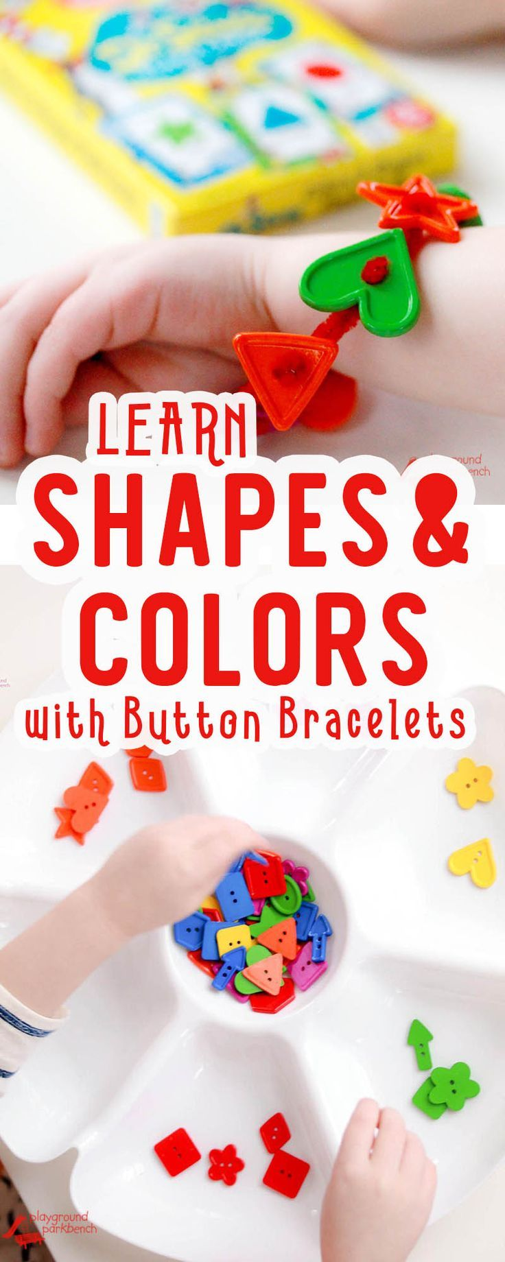 Encourage your preschoolers recognition of shapes and colors through this simple game - and they can build their own button bracelet in the process. | STEM | STEAM Kids | Kids Activities | Crafts for Kids | Shapes | Colors | Preschool | Early Learning | E
