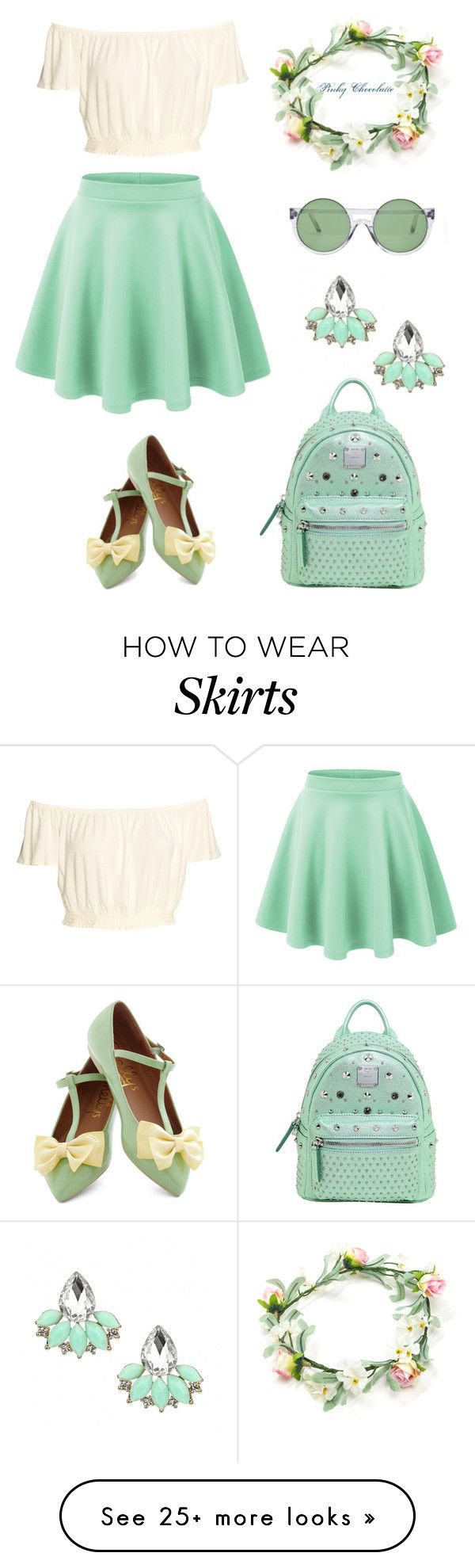 """#583 Skater Skirt Outfit: 18/04/16"" by pinky-chocolatte on Polyvore featuring Shellys, Le Specs and MCM"