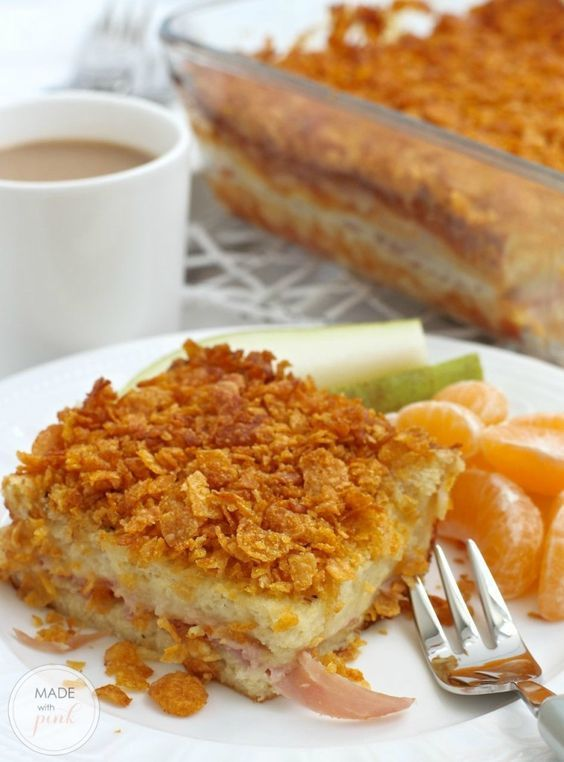 Christmas Morning Wife Saver. Prepare this breakfast casserole of bread, ham and cheese on Christmas Eve for a fuss free breakfast on Christmas morning.