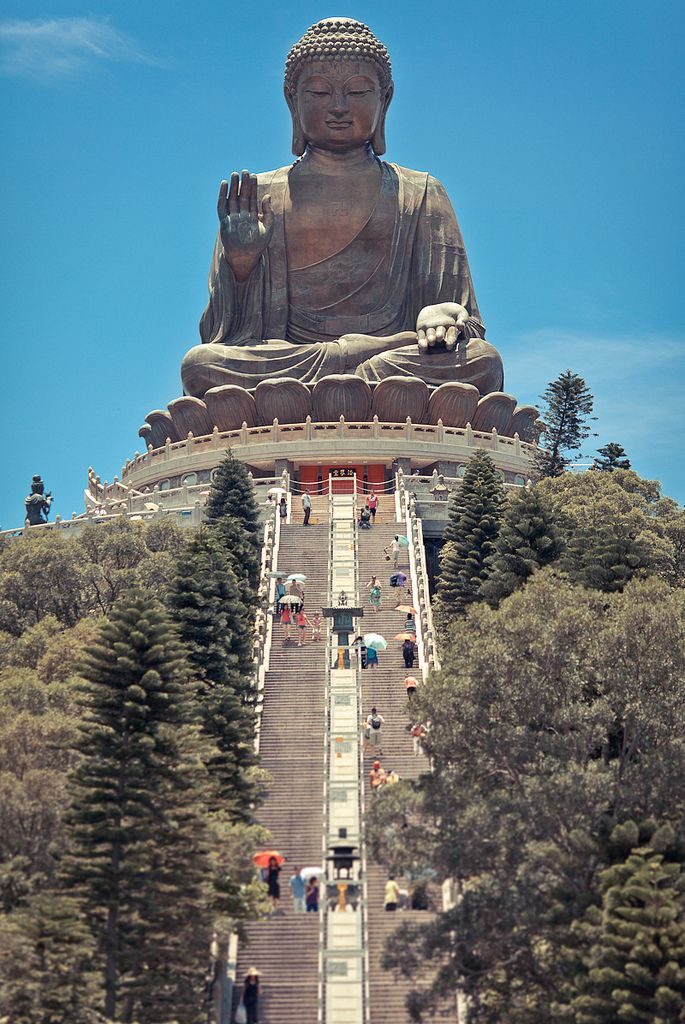 Tian Tan Buddha 天壇大佛 - by Rickuz - it also known as the Big Buddha, is a large bronze statue of a Buddha Amoghasiddhi, completed in 1993, and located at Ngong Ping, Lantau Island, in Hong Kong, China.