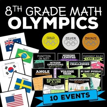 Review major standards while celebrating the Olympic Games! Included: • 10 Activities (5 Team Events, 5 Individual Events) • 50 Team Sheets with Flags • Gold, Silver, and Bronze Medals Sheets • Bulletin Board Design Titles Begin the Olympic games by grouping your
