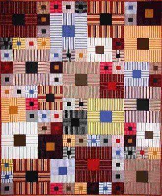Stripes! Squares Squared, 52 x 65, by Pamela Goecke Dinndorf Great way to use shirts....I love stripes!