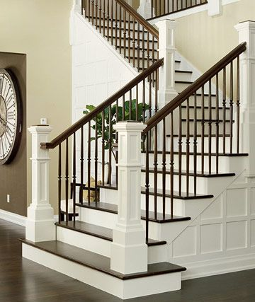 Foyer - A dramatic dark walnut hardwood floor against creamy white make an even bolder statement when paired together to create this incredible staircase. This staircase and the detailed paneling is certainly the focal point upon entry into our dream home. #bhg .com